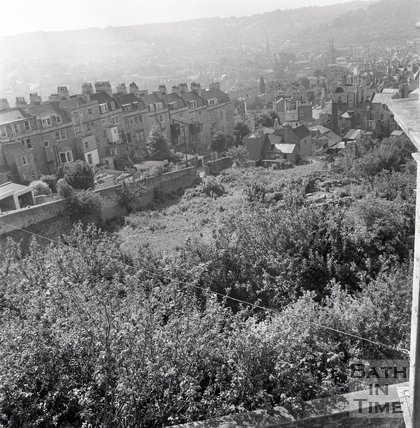 View of the rear of Morford Street from Lansdown Road, Bath, 2 August 1969