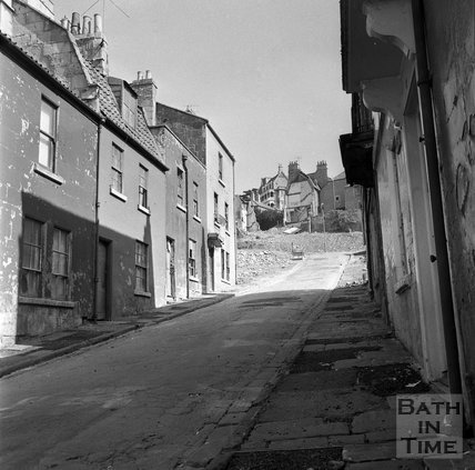 View up Ballance Street towards Lansdown Road prior to demolition, 2 August 1969