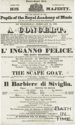 Theatre Royal Bath Playbill for A concert of L'Inganno Felice, Wednesday February 25 1829