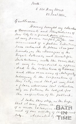 Letter from Chapman to the President of the B.R.L.S.I. introducing his collection, 1850