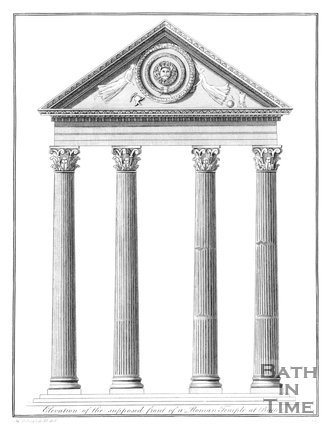 Elevation of the supposed front of a Roman Temple at Bath,