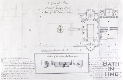 A Ground Plan of the Ancient Roman Bath lately discovered in the City of Bath Somersetshire - with a Section of the Eastern Wing, 1763