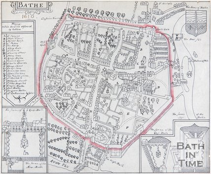 Bath as depicted in John Speed's Map of Somersetshire, 1610
