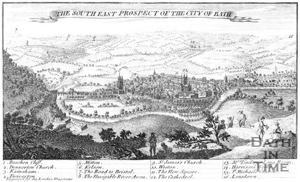 The South East Prospect of the City of Bath (on ribbon in sky), 1749
