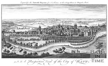 A Perspective View of the City of Bath. Above: Engraved for the Universal Magazine for J. Hinton at the Kings Arms in Newgate Street, 1758