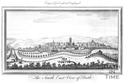 The South East View of Bath. Above: Engraved for England Displayed, 1764