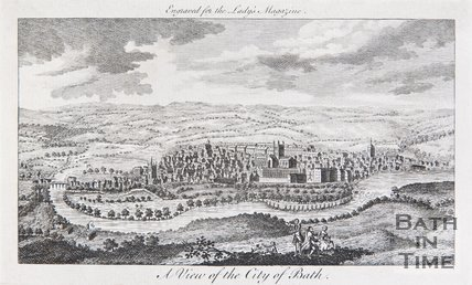 A View of the City of Bath. Above: Engraved for the Lady's Magazine, 1772