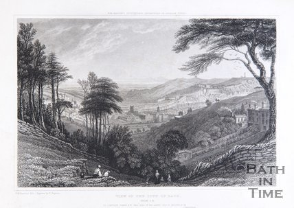 View of the City of Bath from S.E. Above : For Britton's Picturesque Antiquities of English Cities, 1829