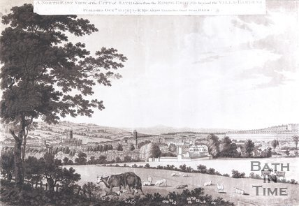 A North-East View of the City of Bath, taken from the Rising-Ground beyond the Villa-Gardens, 1787