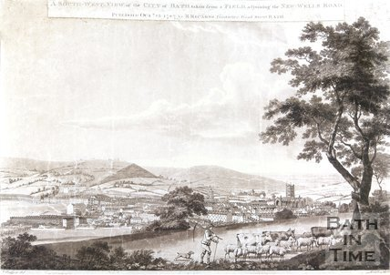 A South-West View, of the City of Bath, taken from a Field, adjoining the New-Wells Road, 1787
