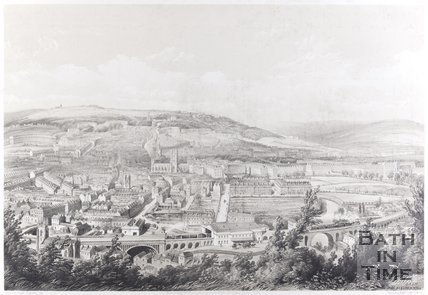 Bath from Beechen Cliff. Early view of Great Western Railway, c.1848