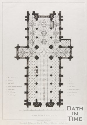 Ground Plan of Bath Abbey, Somersetshire, date unknown