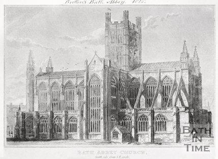 Bath Abbey Church. South side from S.E. angle, 1825