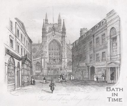 West front of the Abbey Church, Bath, 1844