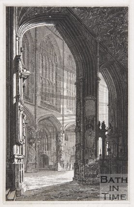Bath Abbey Church. View looking S.W. of Nave &c, c.1815