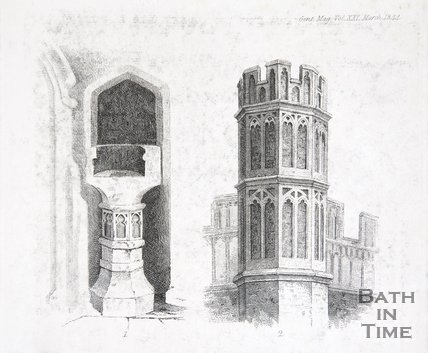 Architectural details of Bath Abbey; font and turret, 1844