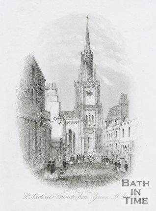 St. Michael's Church from Green St Bath, c.1850