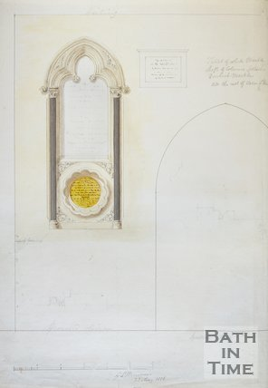 Sketch of Memorial Tablet in St. Michaels Church, Bath, 1856