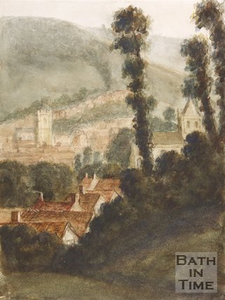 Walcot Old Church, Bath to the right, c.1750