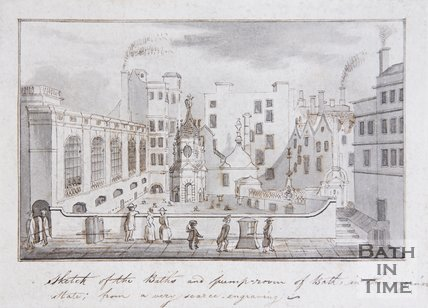 Sketch of the Baths and Pump-room of Bath, in their original state: from a very scarce engraving, c.1780
