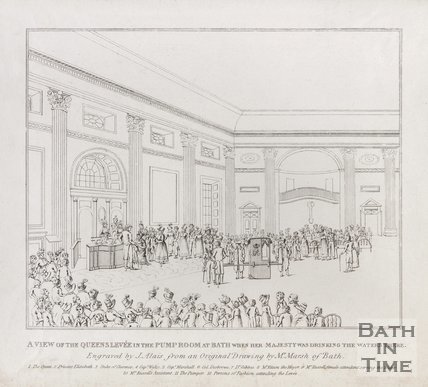 A View of the Queens Levee in the Pump Room at Bath when Her Majesty was drinking the waters there, 1817