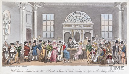 Well known Characters in the Pump Room, Bath taking a sip with King Bladud, 1825