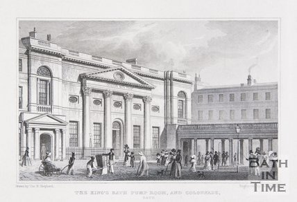 The King's Bath, Pump Room and Colonnade, Bath, 1829
