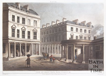 Bath (above) : View of Cross Bath, Bath Street & c, 1804