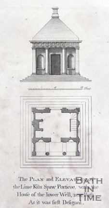 The Plan and Elevation of the Lime Kiln Spaw Portico, with the House of the lower Well, near Bath. As it was first Designed, 1749