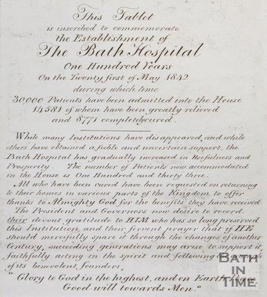 Tablet commemorating the establishment of The Bath Hospital, c.1942