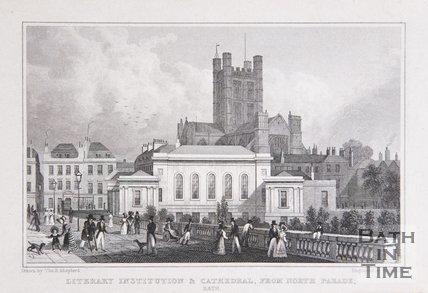 Literary Institution & Cathedral from North Parade, Bath, 1829
