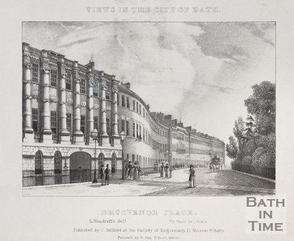 Grosvenor Place. Inscribed above the image : Views in the City of Bath, c.1830