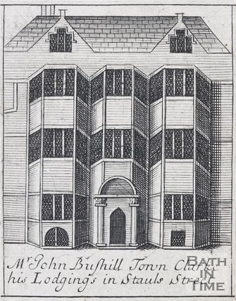 Mr John Bushill Town Clarke his Lodgings in Stauls Street, Bath, 1694