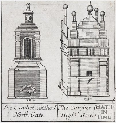 The Conduit without North Gate. The Conduit in High Street, Bath, 1694