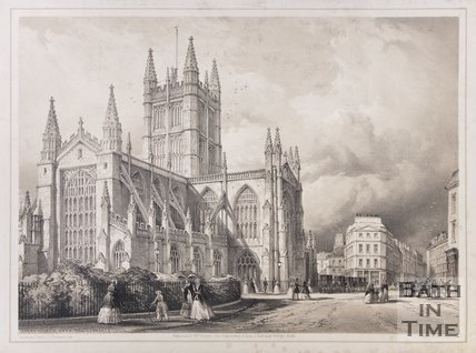 Abbey Church Bath, from the Orange Grove, 1850