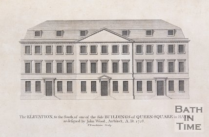 The Elevation to the South, of one of the Side Buildings of Queen Square in Bath, as designed by John Wood, Architect, AD 1728, 1749