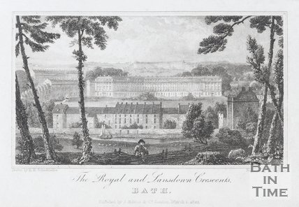 The Royal and Lansdown Crescents, Bath, 1824