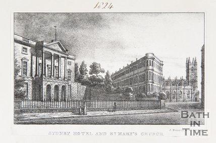 Sydney Hotel and St. Mary's Church, Bath, 1823