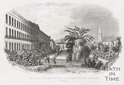 Prior Park Buildings & St. Matthew's Church, Widcombe, Bath, c.1845