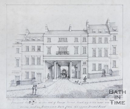 Proposed Colonnade at the end of George Street, leading to the new walks and drives, and an Entrance to Bath, from the Upper Bristol Road, c.1821