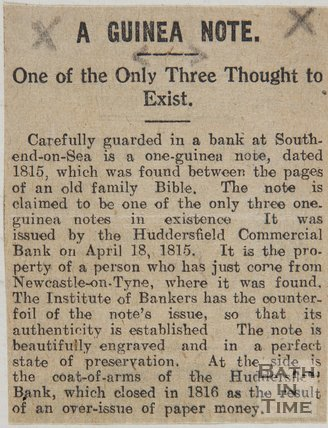 Newspaper cutting describing the discovery of a rare Guinea note,