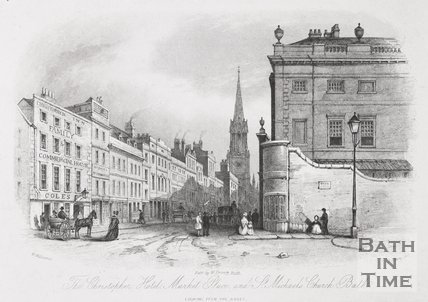 The Christopher Hotel, Market Place, High Street and St Michaels Church, Bath, 1844