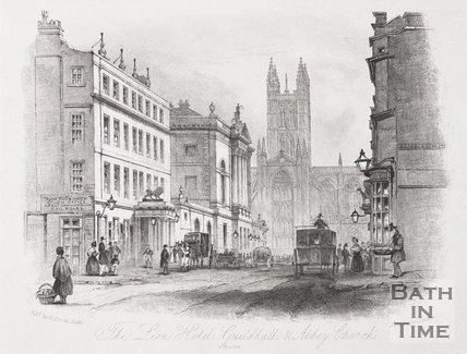 The Market Place, Bath, High Street and The White Lion Inn, 1850