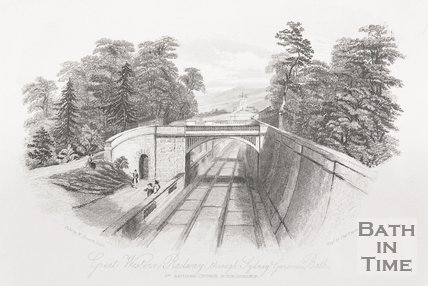 Great Western Railway, through Sydney Gardens, Bath, 1844