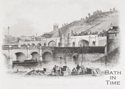 Old Bridge and Railway Viaduct, Bath, 1844