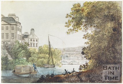 The New Bridge, Bath and part of the South Parade, taken near the Ferry, 1788