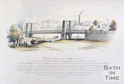 View of a Suspension Bridge erected over the river Avon at Twerton near Bath, 1850