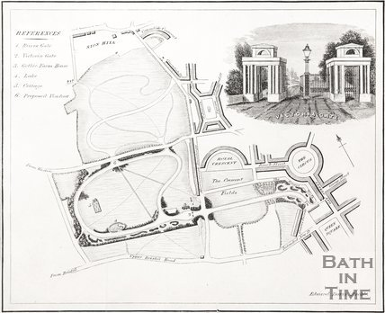 Plan of The Royal Victoria Park, Bath with detail of Victoria Gate, 1837