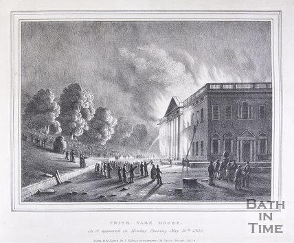 Prior Park House on Fire, Bath, 1836