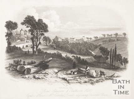Local Situation of Bathwick Hill. Centre House Mr. Clarke's School, Adjoining Claverton Down, Bath, 1845